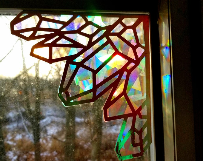 Crystal Sun Catcher // Raw Crystal Gems // Rainbow Window Film // Cast Rainbows // Easily Removed and Will Restick