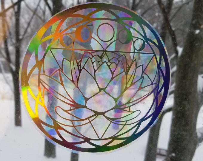 Lotus Flower Lunar Phases Sun Catcher // Mandala // Rainbow Window Film // Cast Rainbows // Easily Removed and Will Restick