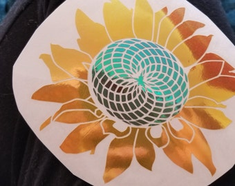 Color Shifting Vinyl Decal Sun Flower// Natural Crystal // Car Decal // Window Decal // Multiple Surface Decal