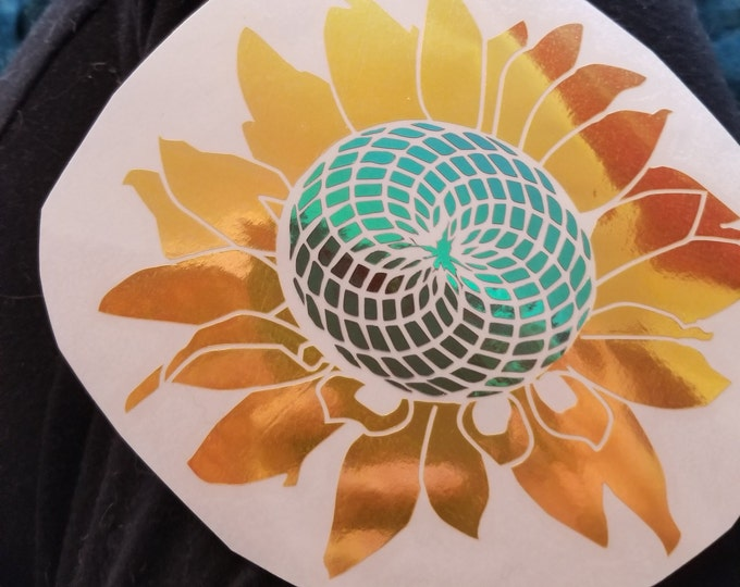 Color Shifting Vinyl Decal Sun Flower// Natural // Car Decal // Window Decal // Multiple Surface Decal