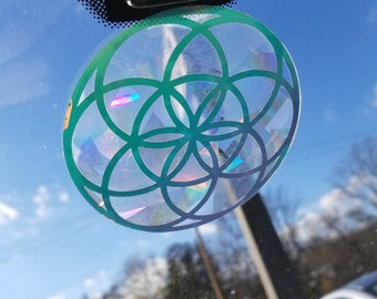 Seed of Life Sun Catcher // Sacred Geometry // Rainbow Window Film // Cast Rainbows // Easily Removed and Will Restick