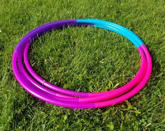"UV Razzberry Ombre 4 Tone Polypro Hula Hoop 3/4""or 5/8"" Collapsible for Travel- Push Pin Connection"