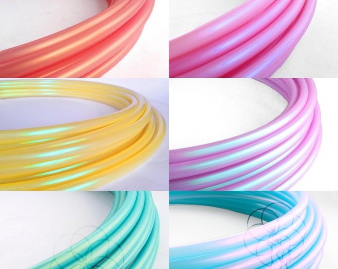 """Six Toned Color Shift Pastel Rainbow Ombre Polypro Hula Hoop 3/4""""or 5/8"""" Collapsible for Travel- Push Pin Connection"""