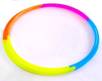 """Four Section UV High Gloss Radioactive Rainbow Polypro Hula Hoop 3/4""""or 5/8"""" Collapsible for Travel- Push Pin Connection"""