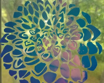 Color Shifting Vinyl Decal Dahlia Flower // Car Decal // Window Decal // Multiple Surface Decal