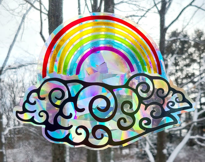 Rainbow in the Clouds Sun Catcher // Rainbow Window Film // Cast Rainbows // Easily Removed and Will Restick