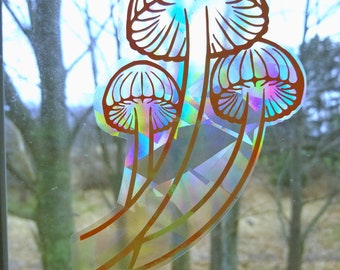 Luminecent Mushroom // Rainbow Window Film // Cast Rainbows // Easily Removed and Will Restick