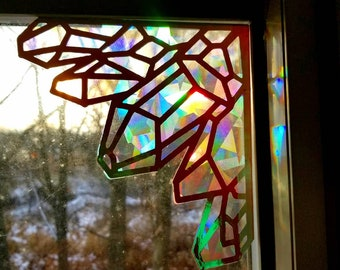 Crystal Corner Sun Catcher // Raw Crystal Gems Decal // Holographic Rainbow Window Film // Cast Rainbows