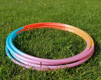 "Pink Beach Ombre 4 Piece Polypro Hula Hoop 3/4""or 5/8"" Collapsible for Travel- Push Pin Connection"