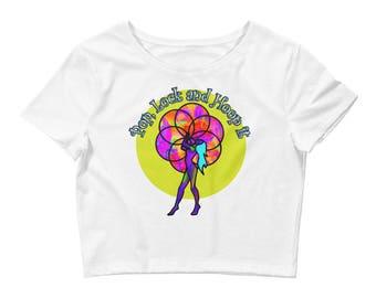 Pop Lock and Hoop It Women's Crop Tee// Hula Hoop Clothing