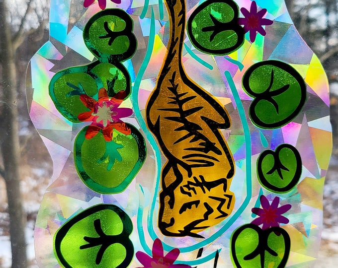 Tiger in Lilly Pad Pond Sun Catcher // Rainbow Window Film // Cast Rainbows // Easily Removed and Will Restick