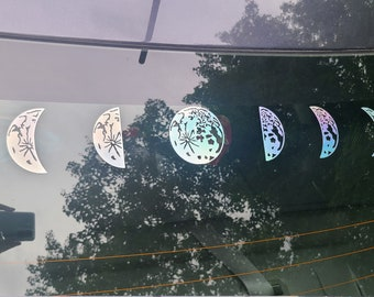 Color Shifting Vinyl Decal Phases of The Moon Sticker // Car Decal // Window Decal // Multiple Surface Decal