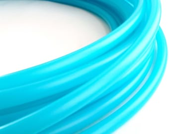 """POLYPRO HOOP: Translucent UV Electric Teal 5\8"""" polypro hula hoop // Free Grip//Push Pin Collapsible// Light Weight// sizes 26""""-36"""