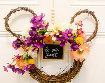 Mickey Ear Wreath, Disney decor, Minnie Mouse, be our guest