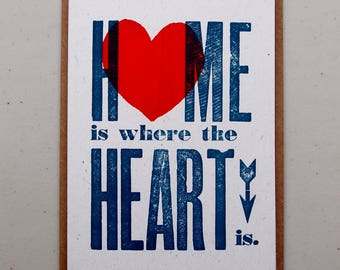 Home Is Where The Heart Is letterpress card