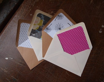 Wedding party invitations Lined envelopes