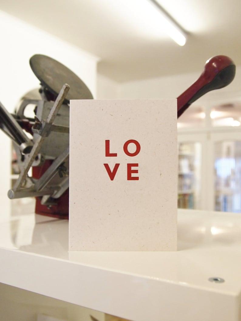 LOVE design letterpress wedding anniversary valentines card add a message blank inside