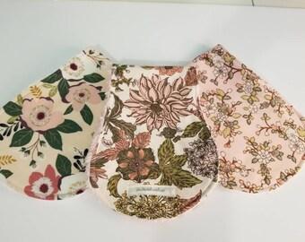 Handmade Baby Girl Burp Cloth Set of 3 Chic and Shabby