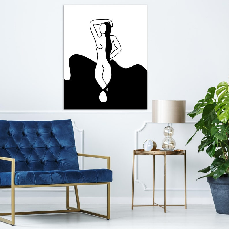 Contemporary Female Figure Wall Art Black And White Abstract Woman Canvas Print Black And White Women Canvas Art Large Canvas Art