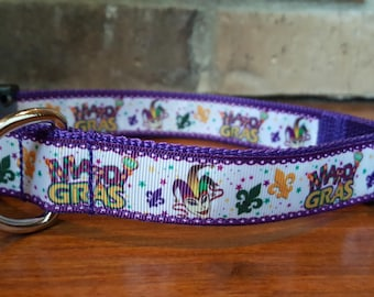 Mardi Gras Cat Collar Glitter Mardi Gras Stripes Kitten or Large size B110D140 Breakaway Cat Collar