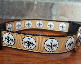 New Orleans Saints Fleur De Lis Dog Collar Size Large