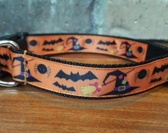 Halloween Bats, Hats and Spiders Dog Collar Large