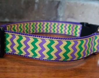 Mardi Gras Chevron Dog Collar - Large