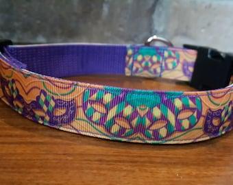 Mardi Gras Mask Dog Collar - Large