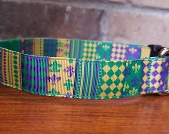 Mardi Gras Multi Pattern Dog Collar - Large