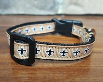 New Orleans Saints Fleur de Lis Mini Dog Collar