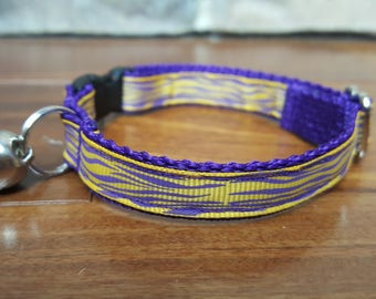Purple and Gold Cat Collar With Breakaway Buckle