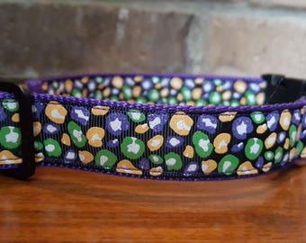 Mardi Gras Leopard Print Dog Collar - Large