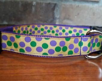 Mardi Gras Polka Dot Dog Collar - Large