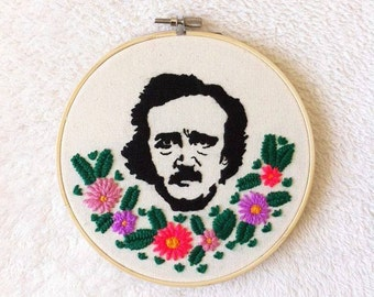 Edgar Allan Poe /Edgar Allan Poe art/Edgar Allan Poe decor/Handmade stitching/MADE TO ORDER
