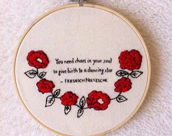 Nietzsche quote embroidery hoop art/reading quote/embroidered quote/MADE TO ORDER