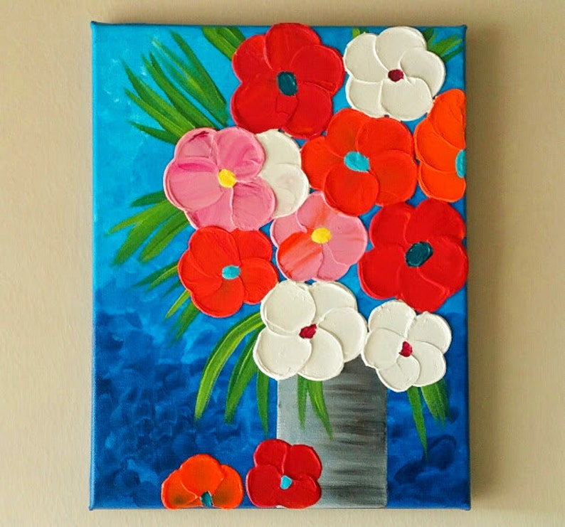 & Original Acrylic Flower Vase painting Flowers in vase | Etsy