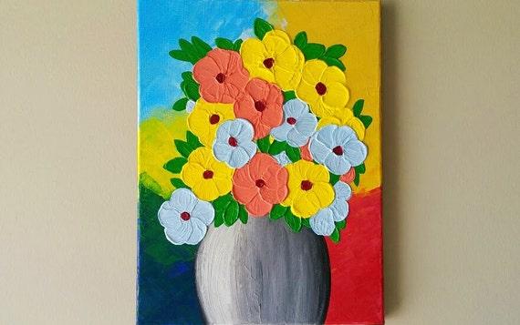 Acrylic Flower Vase Paintingflowers In Vase Paintingabstract Etsy