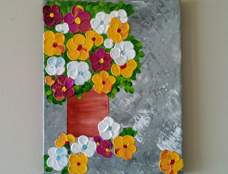 image 0 ... & Original Acrylic Flower Vase painting Flowers in vase | Etsy