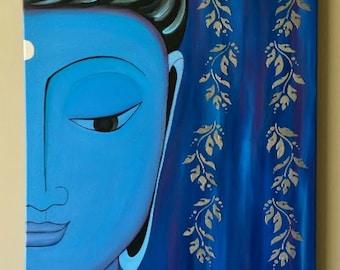 Zen Buddha Painting,Abstract Buddha painting,Meditation Buddha,Yoga painting, Zen painting, Spiritual painting, Buddha painting Silver20x24