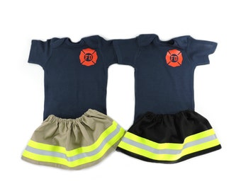 bdf12109 Firefighter Baby Girl WIDE Outfit, Personalize Shirt, Future Firefighter,  Baby Shower, Coming Home Outfit, Halloween Costume, photo prop