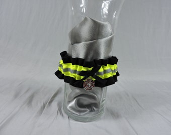 Firefighter wedding garter, With optional embroidered name added, Black bunker gear look, firefighter gift, firefighter wife, garter belt