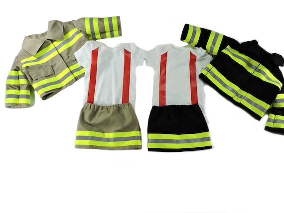Bunker Gear Look New Born Baby Shower Gift Halloween Costume Firefighter Baby Girl Outfit Photo Prop Fireman Gender Reveal Outfit