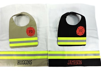 Firefighter Baby Bib and Personalized Burp cloth, baby shower gift, Bunker gear, Home from hospital newborn gift, future firefighter, FFB010