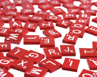 Scrabble Upwords Red Tiles Crafting Scrapbooking Replacement Plastic Pieces
