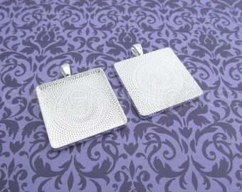 10 - 30mm Square Pendant Trays - Shiny Silver Color -  Vintage Style - Pendant Blanks Settings Mix 30 mm 1 3/16 inch