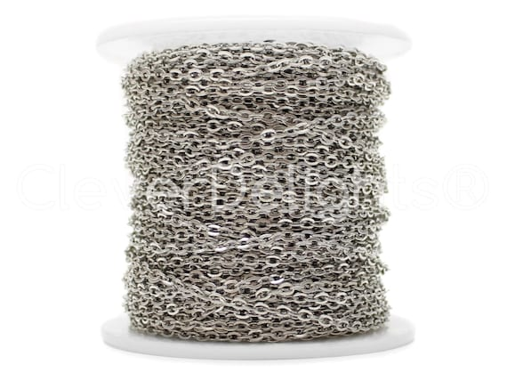 Gunmetal Color 330 Feet Cable Chain Spool 5x7mm Oval Flat Rolo Link