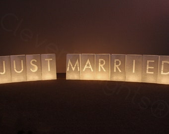 Just Married Luminary Bags - 1 Set - 11 Bags Total - White Color - Paper Wedding Reception Decor - Luminaria Candle Bag