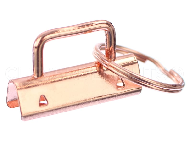 38mm KeyFob Hardware 1 12 Inch For Lanyards Keychains Straps Rose Gold Color 25 Sets 1.5 Key Fob Hardware With Key Rings