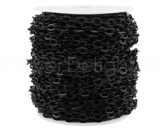 100 Ft - 5x7mm Dark Black Cable Chain Spool - For Necklaces Jewelry - 5mm x 7mm Oval Links - Bulk Flat Oval Chain Roll