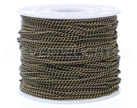 100 Feet Gold Color Bulk Roll Curb Chain Spool 2x3mm Link